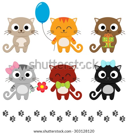 Stylized set of cute cartoon kittens. Raster version - stock photo
