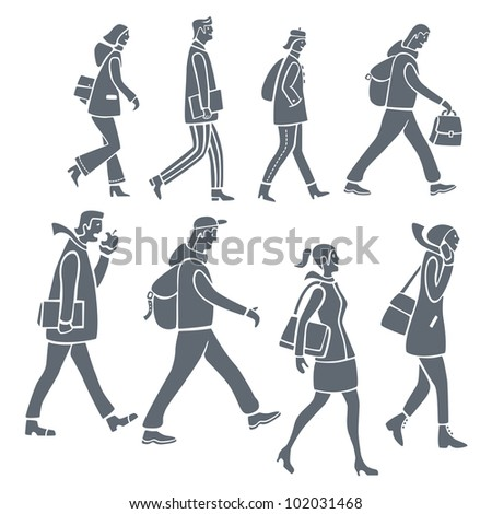 Stylized silhouettes of people walking, on their way to work or school