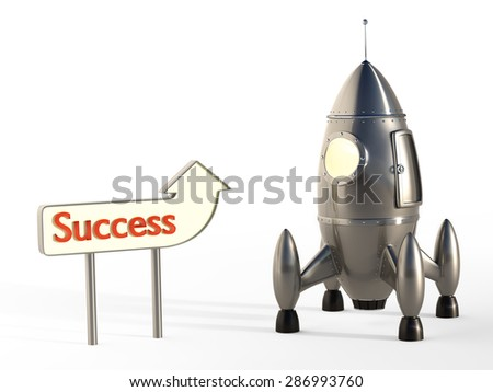 Stylized Space Rocket Ready for Launch With Signpost - Success Take-Off Concept - stock photo