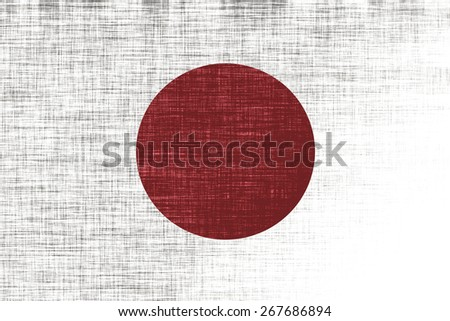 Stylized state flag of Japan (proportion 2:3). Rectangular flag with a large red disc. Textile background, canvas texture - stock photo