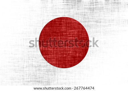 Stylized state flag of Japan (proportion 2:3). Rectangular white flag with a large red disc. Textile background, canvas metallic texture - stock photo