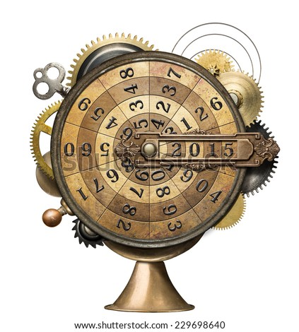 Stylized steampunk metal collage of time counting device. New Year concept. - stock photo