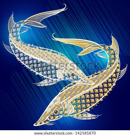 stylized sturgeons in deep sea - stock photo