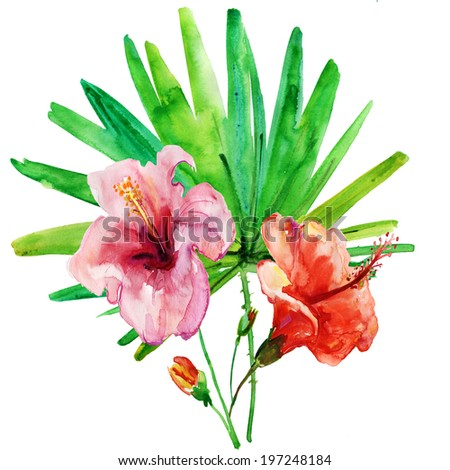 Stylized Summer flowers, watercolor illustration - stock photo