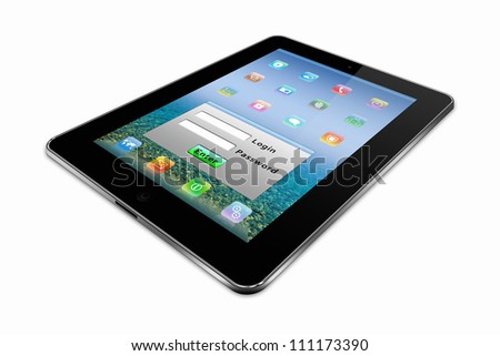 stylized tablet pc on a white background - stock photo