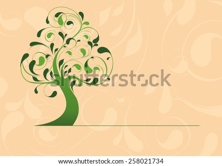 Stylized tree template for labels, patterned background, a green tree logo