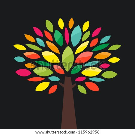 Stylized tree with color leaves - stock photo