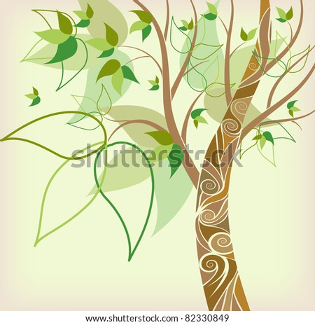 stylized tree with green sheet on green background