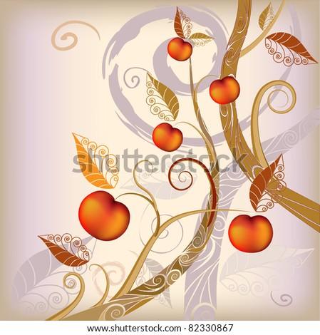 stylized tree with ripe apple - stock photo