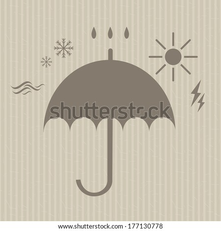stylized umbrella silhouette surrounded by the forces of nature icons on the seamless striped vintage background raster version - stock photo