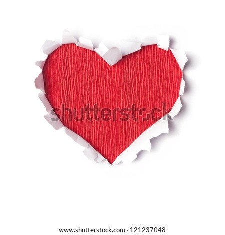 Stylized valentine paper heart, Valentines Day gift card - stock photo