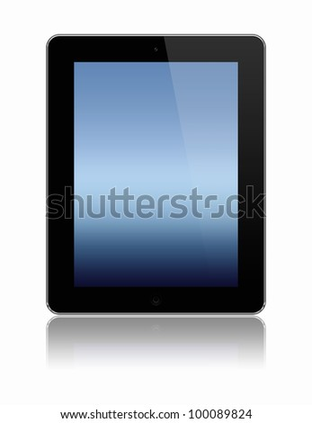 stylized vertical tablet pc isolated on a white background