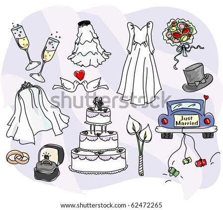 stylized wedding icons - stock photo
