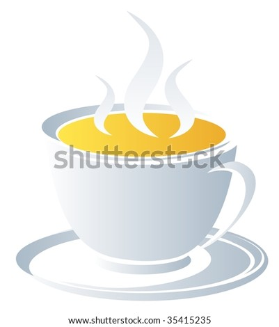Stylized white tea cup   isolated on a white background.
