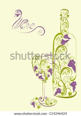 Stylized wine bottle and wine glass - stock photo