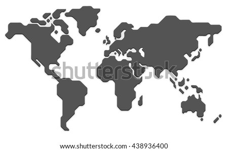 Stylized World Map. Modern Flat Illustration, Simple Geometric Style.