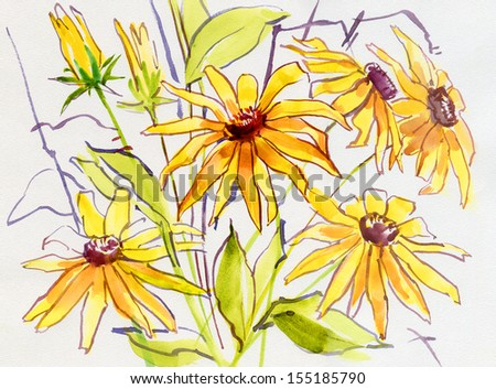 Stylized yellow flowers on a white background. Watercolor. - stock photo