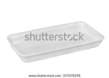 Styrofoam food tray isolated on white with clipping path - stock photo