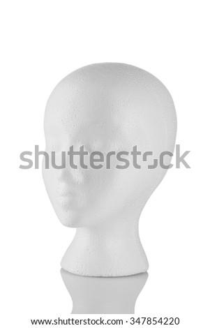 Styrofoam head 3/4 view isolated on white background - stock photo