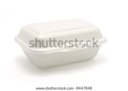Styrofoam meal box isolated on white ground - stock photo