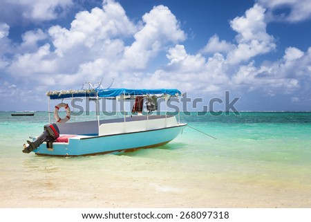 sub charter boat on the sea in Mauritius tropical island - stock photo