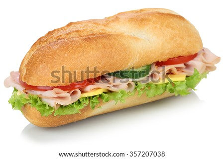 Sub deli sandwich baguette with ham, cheese, tomatoes and lettuce isolated on a white background - stock photo