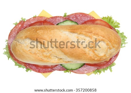 Sub deli sandwich baguette with salami, cheese, tomatoes and lettuce top view isolated on a white background