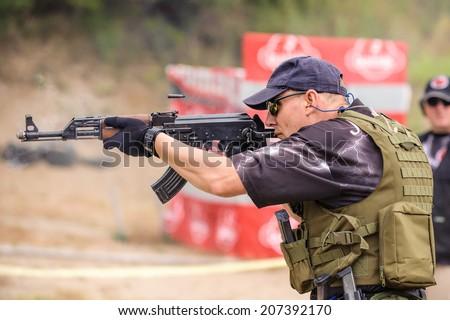 Sub machine Gun. Shooting and Weapons Training. Outdoor Shooting Range - stock photo