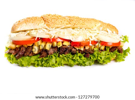 Sub sandwich with grilled beef