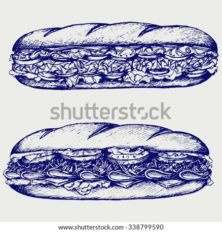 Sub Sandwich with sausage, cheese, lettuce and tomato. . Doodle style. Raster silhouettes