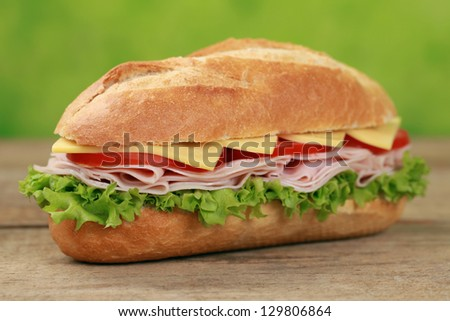 Sub Sandwiches with ham, cheese, tomatoes and lettuce - stock photo