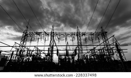 Sub station 115/22 kV outdoor type black and white