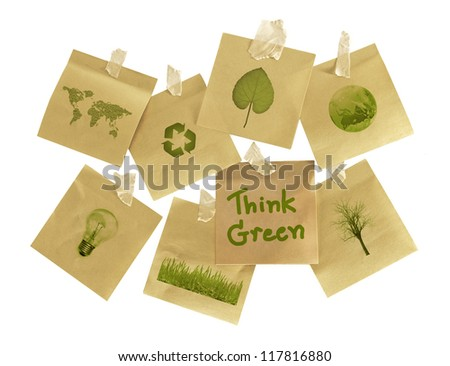 subjects on environmental concern on post it - stock photo