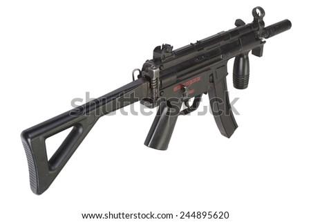 submachine gun MP5 isolated on white - stock photo