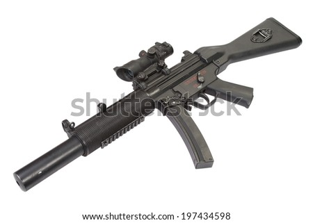 submachine gun MP5 with silencer isolated