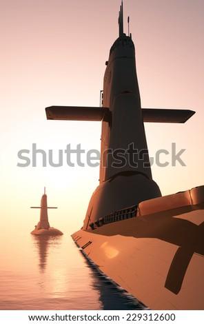 Submarine against the evening sky. - stock photo