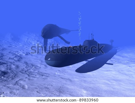 Submarine and whale under water. - stock photo