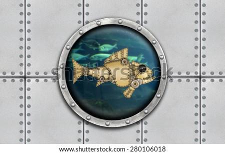 Submarine armoured porthole metal background - stock photo