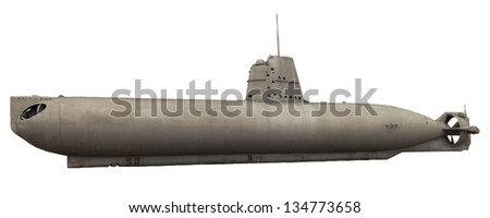 submarine isolated on white - stock photo