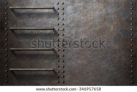 submarine metal side background with stairs  - stock photo