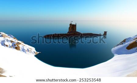 Submarine near the coast. - stock photo