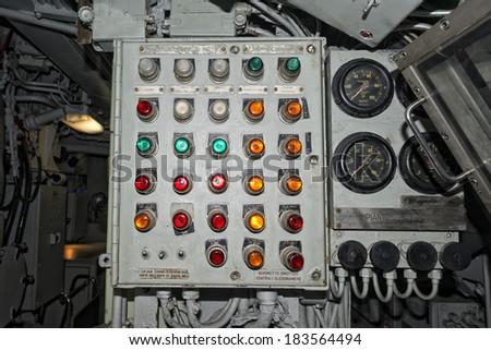 Submarine old control panel detail - stock photo