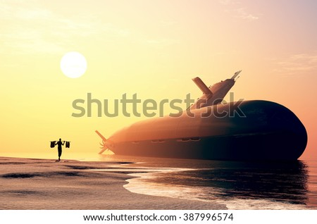 Submarine on the shore after the accident. - stock photo