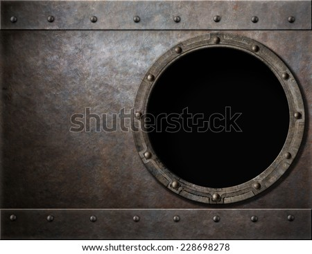 submarine or battleship porthole metal background - stock photo