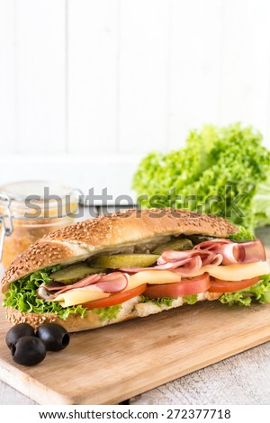 Submarine sandwich with salami and cheese on wooden board,selective focus and blank space  - stock photo