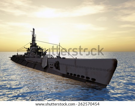 Submarine USS Trigger of WW2 Computer generated 3D illustration - stock photo