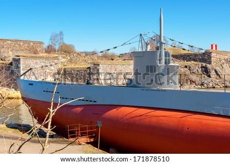 Submarine Vesikko at Suomenlinna maritime fortress. Helsinki, Finland - stock photo
