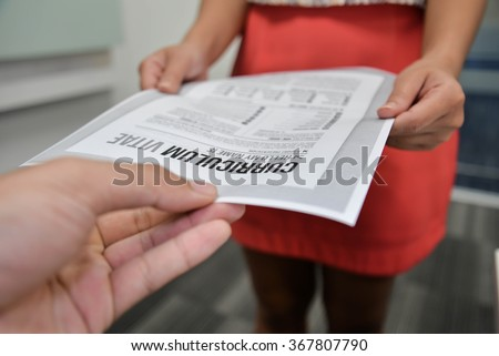 Submitted curriculum vitae to interview - stock photo
