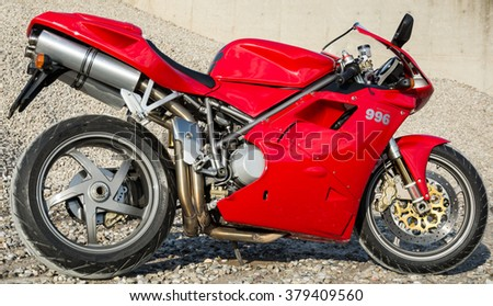 Subotica, Serbia: February 20th, 2016. Closeup of beautiful red Ducati motorbike, photographed outdoor on a nice sunny day.