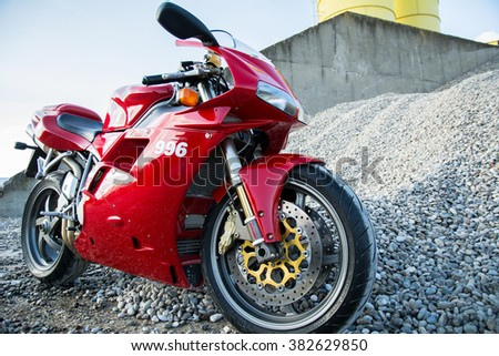 Subotica, Serbia: February 20th, 2016. Closeup of beautiful red Ducati motorbike, photographed outdoor on a nice sunny day. - stock photo